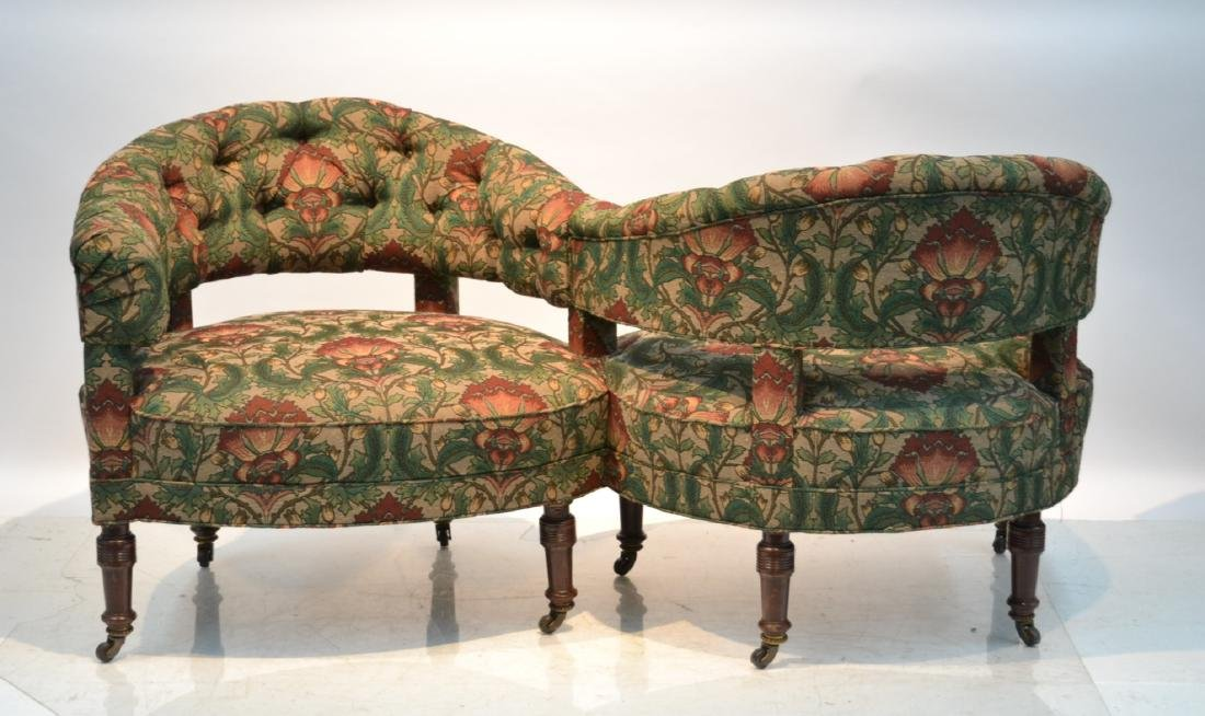FLORAL UPHOLSTERED TETE A TETE