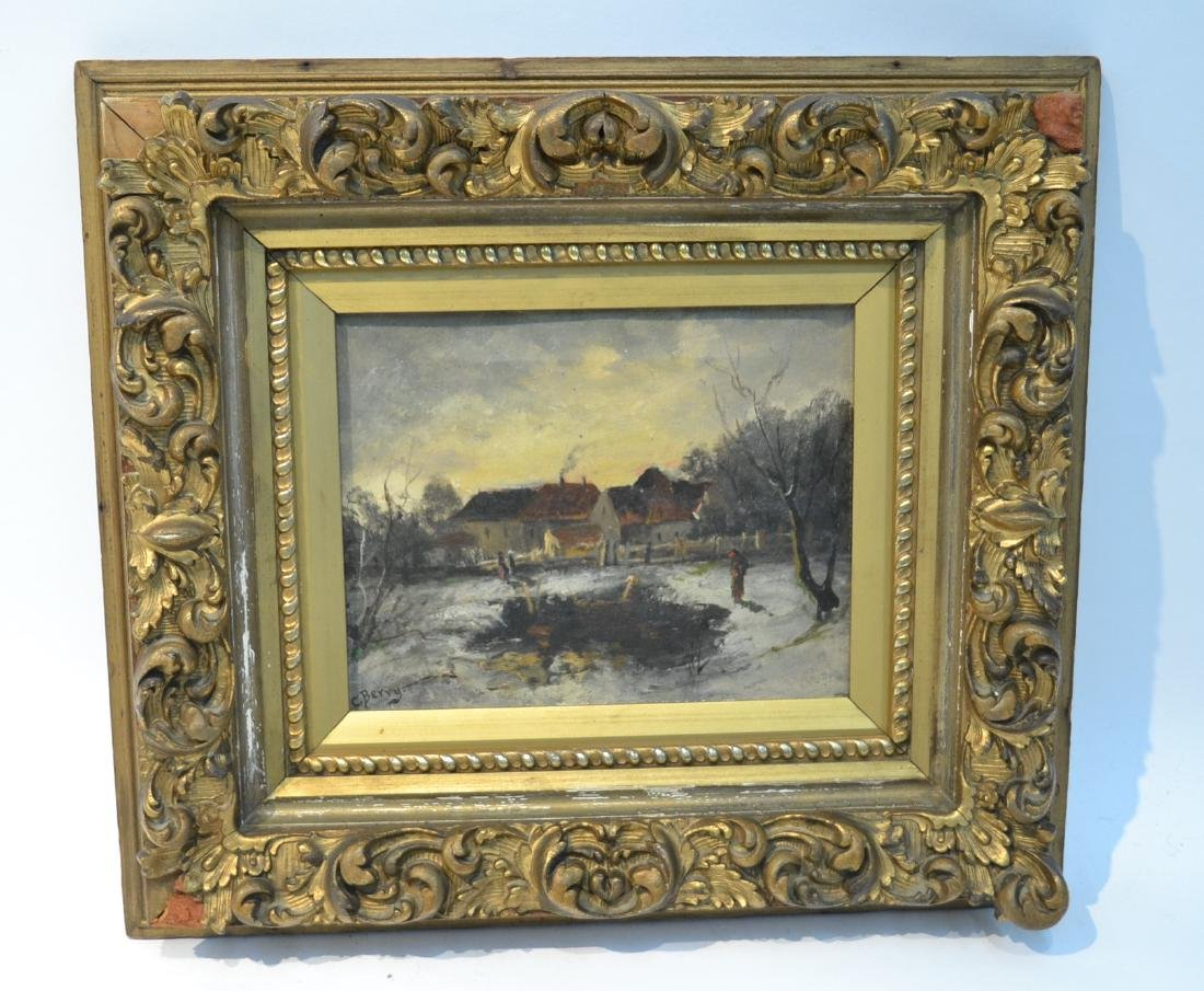 OIL ON CANVAS WINTRY LANDSCAPE SIGNED