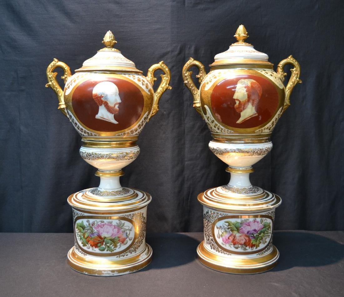 (Pr) LARGE OLD PARIS COVERED URNS WITH