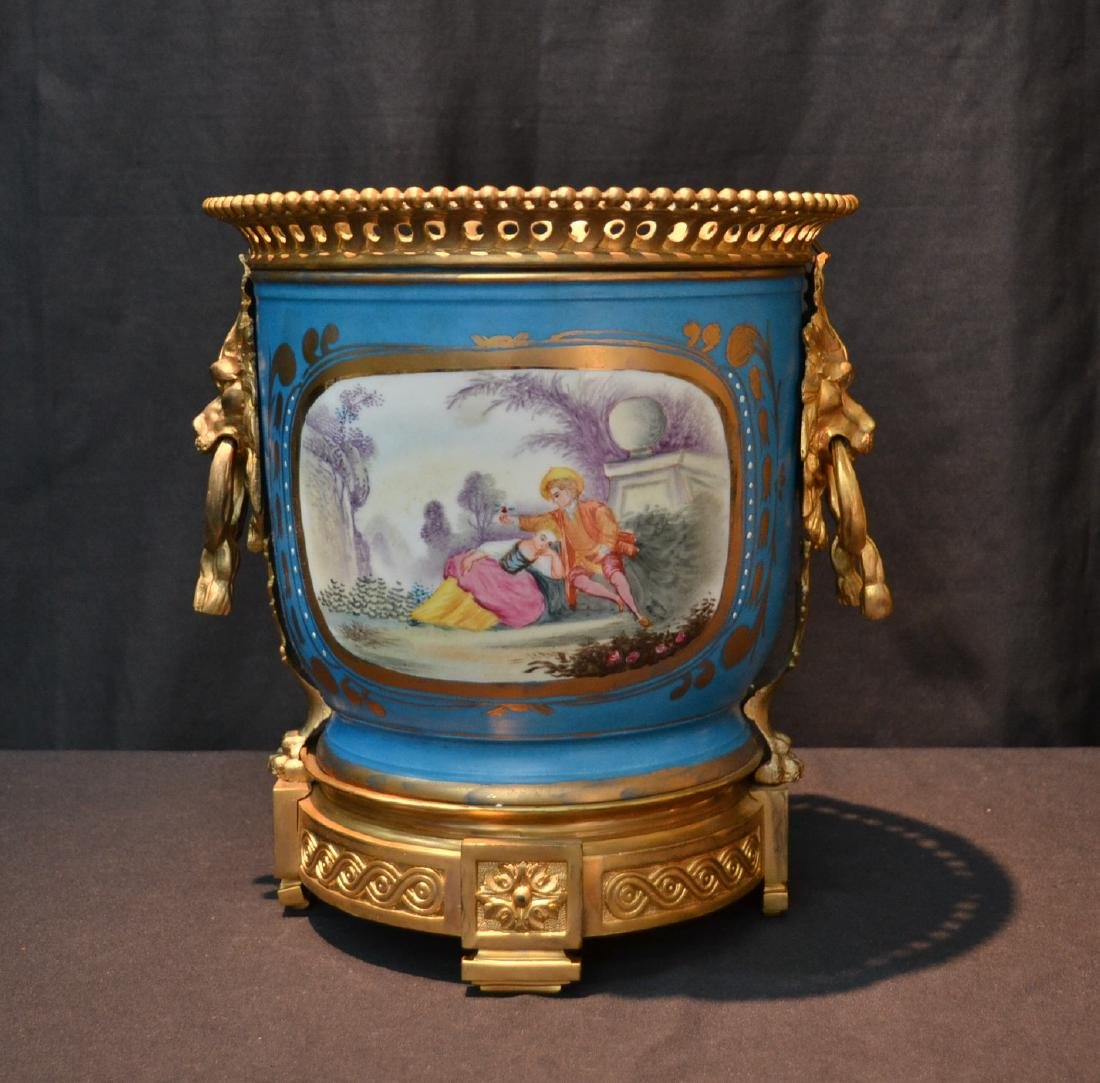 LARGE HAND PAINTED BRONZE & SEVRES CACHE POT