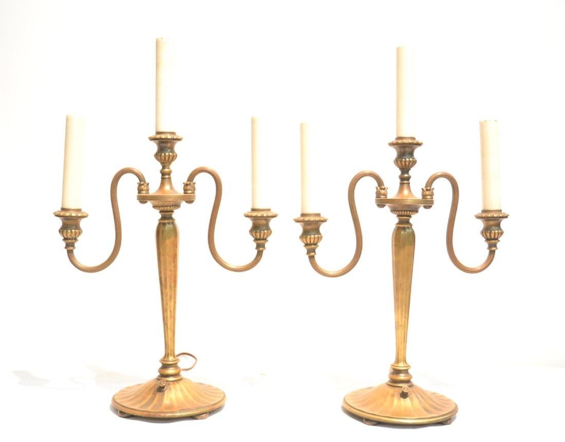(Pr) TIFFANY STUDIO NEW YORK BRONZE CANDELABRA - 2