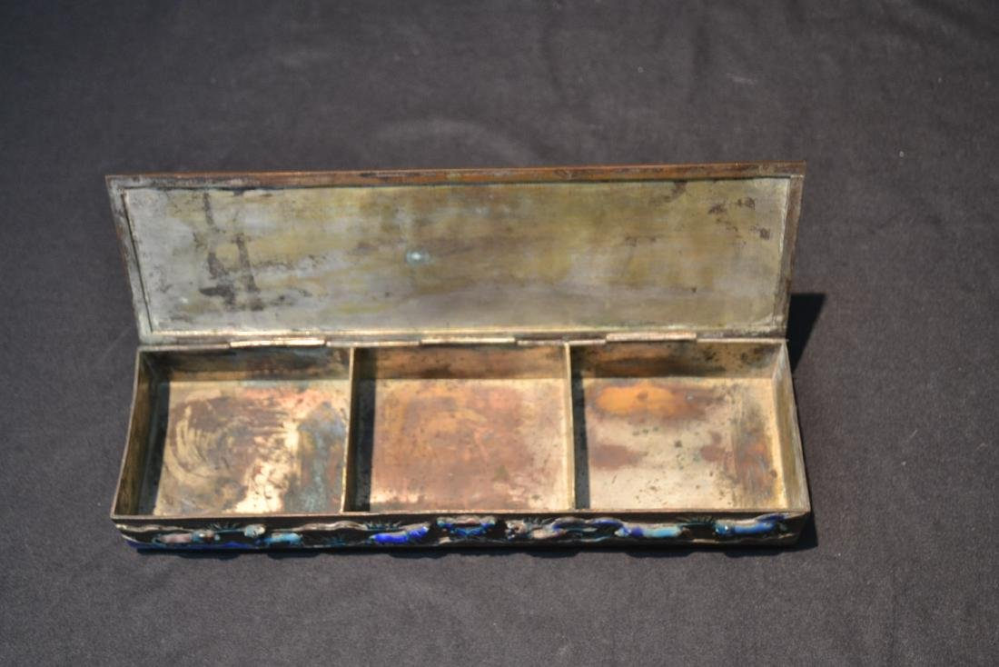 CHINESE BOX WITH ENAMELED RAISED RELEIF ANIMALS - 10