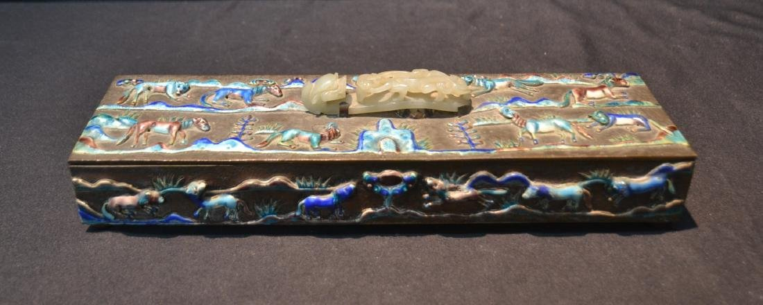 CHINESE BOX WITH ENAMELED RAISED RELEIF ANIMALS