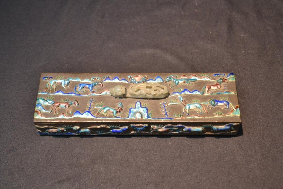 CHINESE BOX WITH ENAMELED RAISED RELEIF ANIMALS - 3