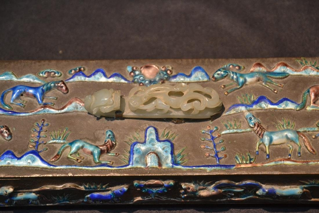 CHINESE BOX WITH ENAMELED RAISED RELEIF ANIMALS - 4
