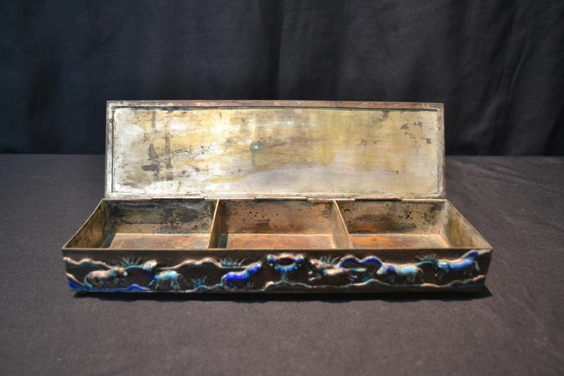 CHINESE BOX WITH ENAMELED RAISED RELEIF ANIMALS - 5