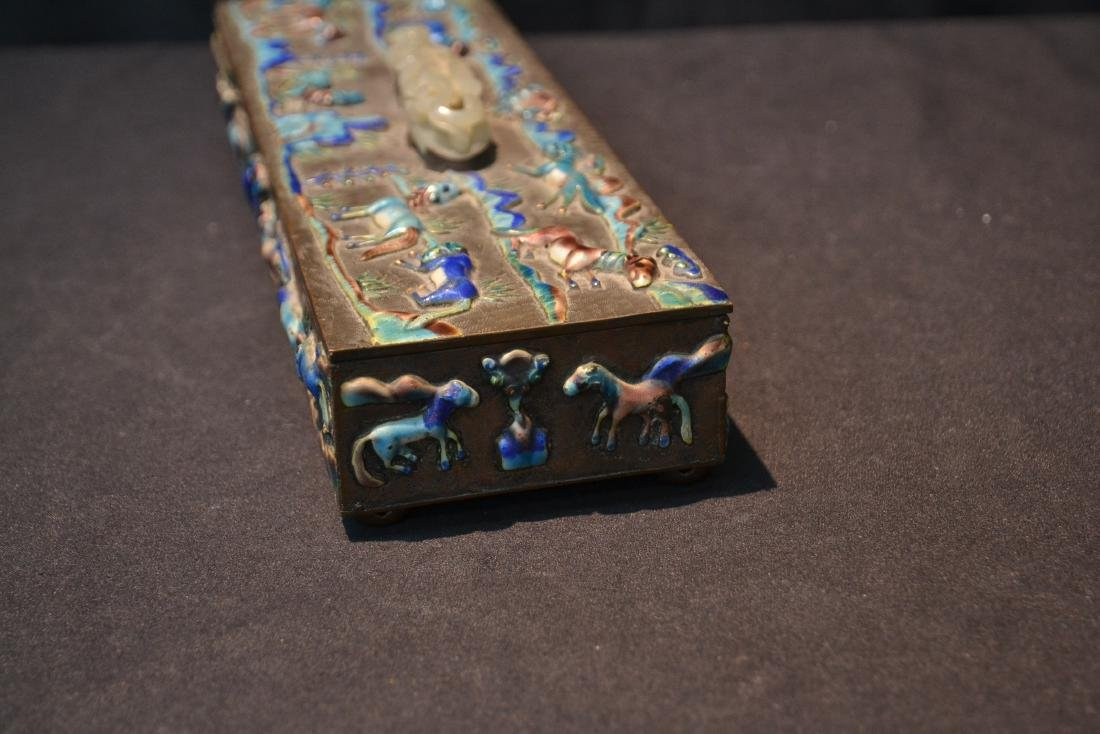 CHINESE BOX WITH ENAMELED RAISED RELEIF ANIMALS - 6