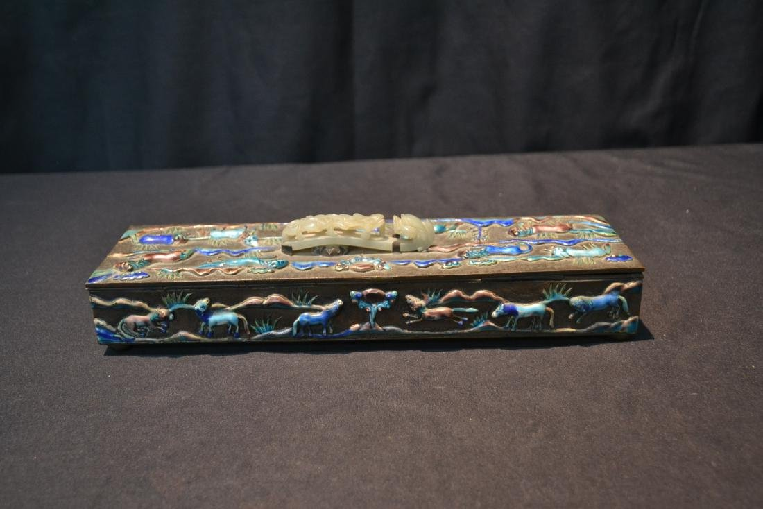 CHINESE BOX WITH ENAMELED RAISED RELEIF ANIMALS - 7