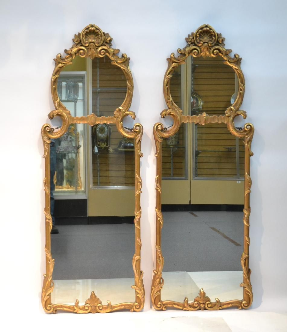 (Pr) ANTIQUE CARVED GILTWOOD TRUMEAU MIRRORS