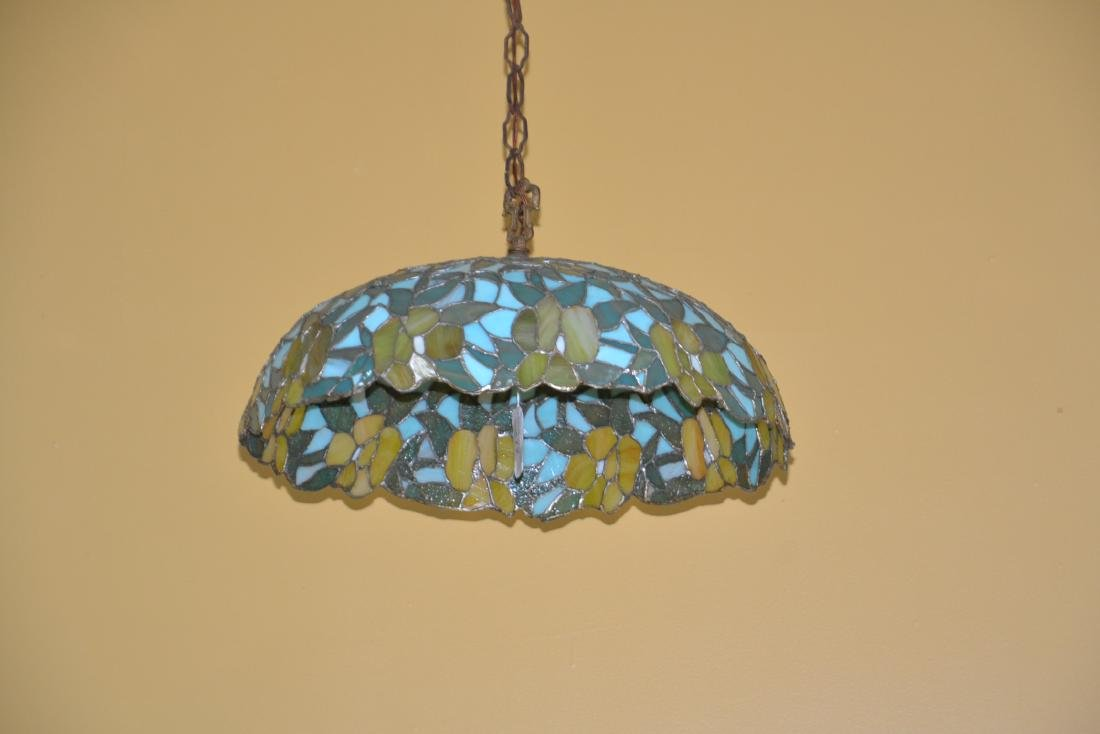 FOLIATE LEADED STAINED GLASS SHADE HANGING LAMP - 10