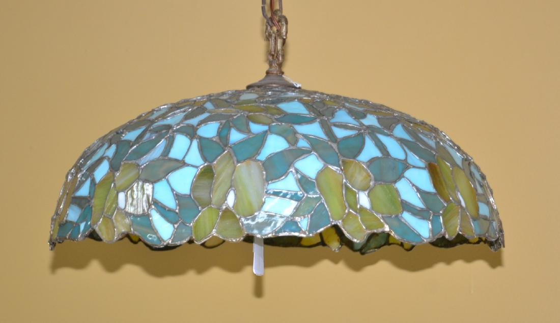 FOLIATE LEADED STAINED GLASS SHADE HANGING LAMP