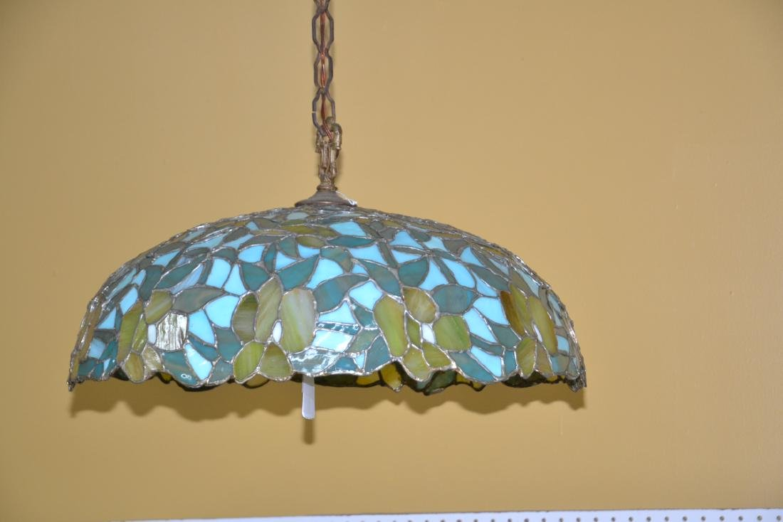 FOLIATE LEADED STAINED GLASS SHADE HANGING LAMP - 2