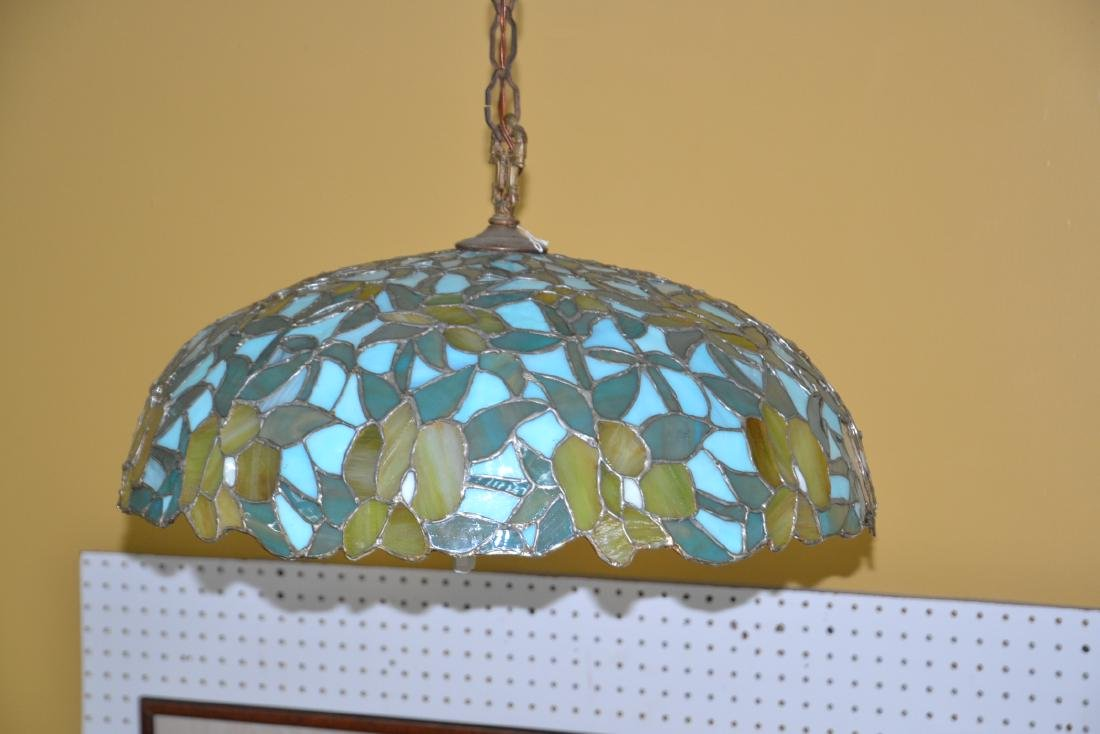 FOLIATE LEADED STAINED GLASS SHADE HANGING LAMP - 3