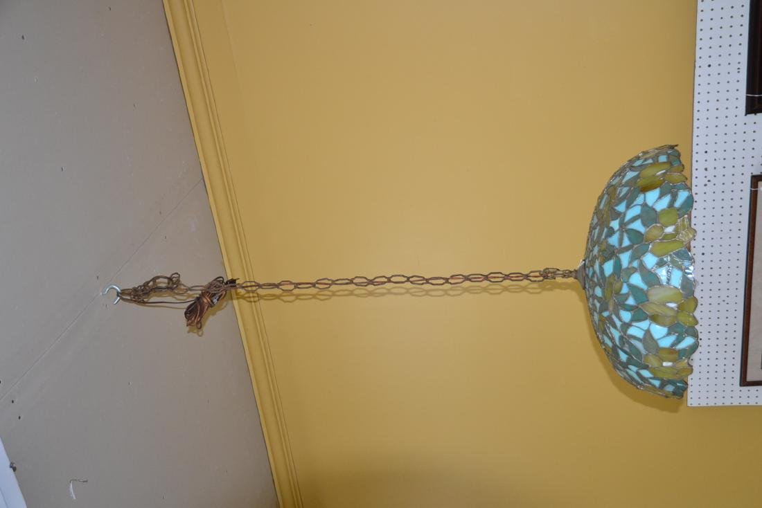 FOLIATE LEADED STAINED GLASS SHADE HANGING LAMP - 5