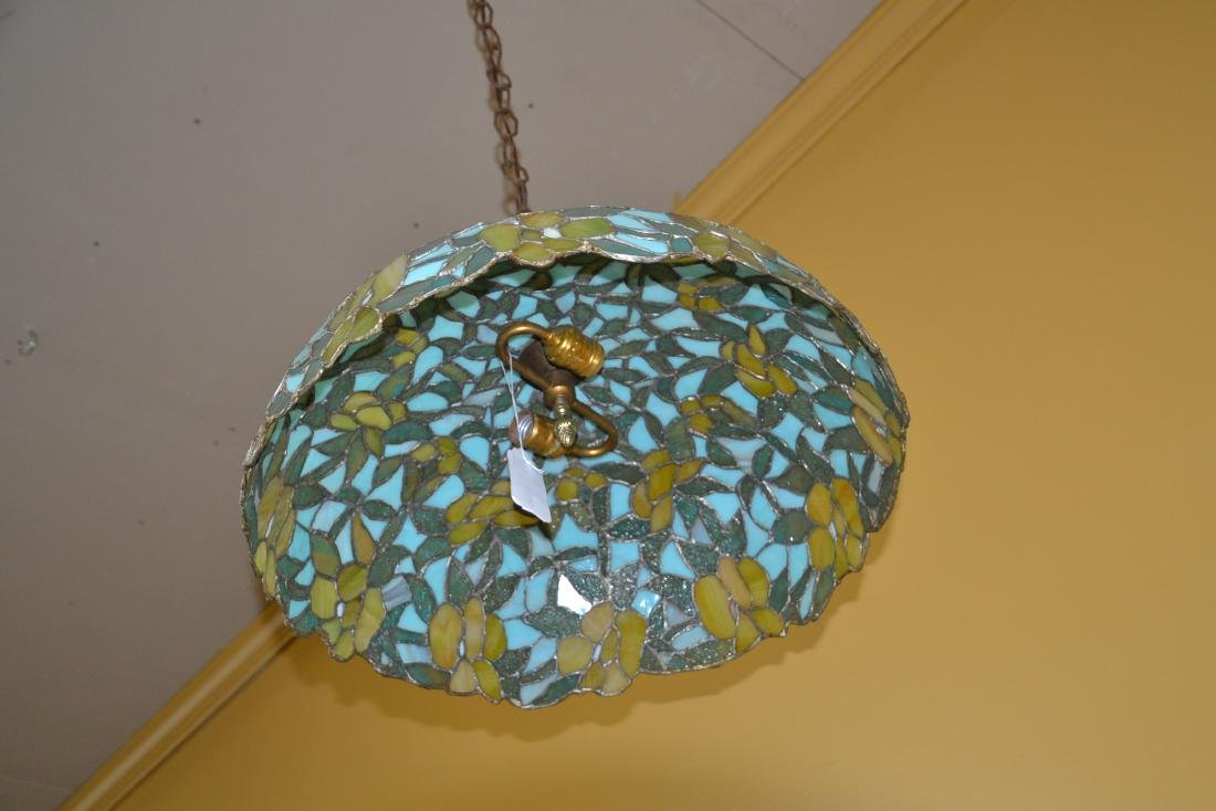 FOLIATE LEADED STAINED GLASS SHADE HANGING LAMP - 6