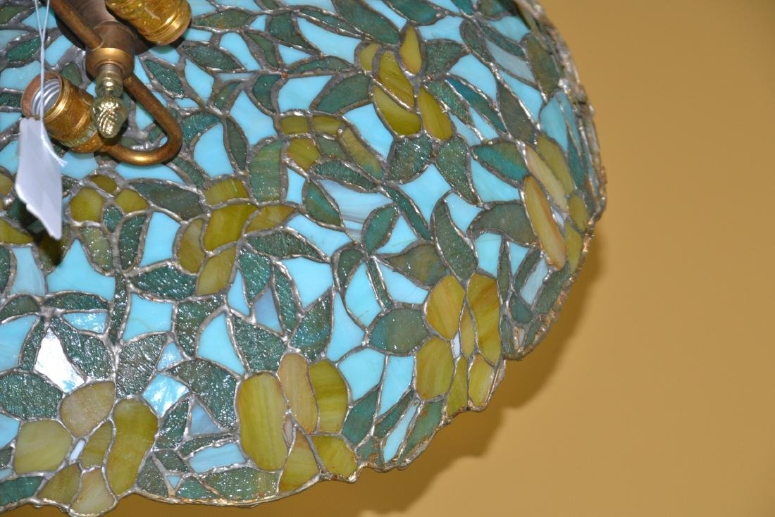 FOLIATE LEADED STAINED GLASS SHADE HANGING LAMP - 7