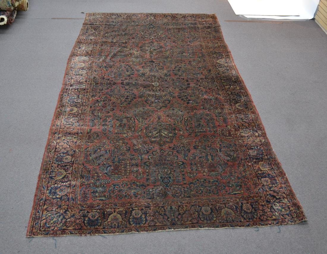 "ANTIQUE SAROUK RUG - 7' 9"" x 14' 5"" (SOME WEAR)"