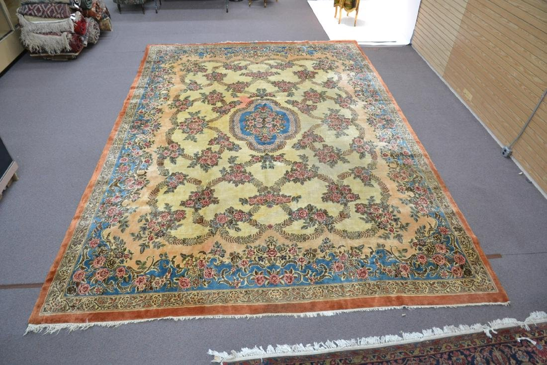 """11' 11"""" x 17' KERMAN RUG WITH FLORAL DECORATIONS - 10"""