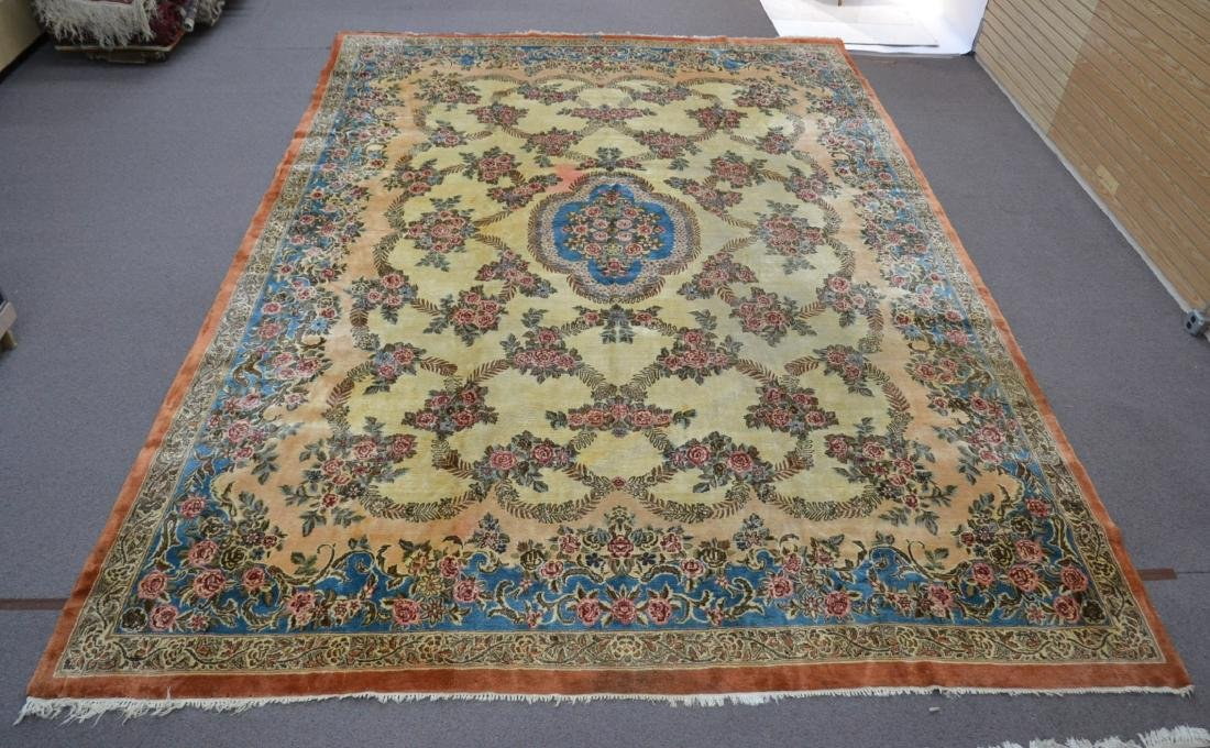 """11' 11"""" x 17' KERMAN RUG WITH FLORAL DECORATIONS"""
