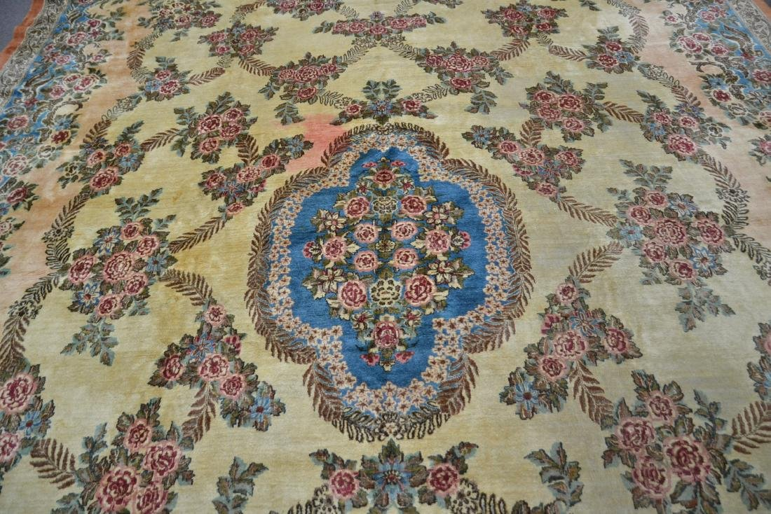 """11' 11"""" x 17' KERMAN RUG WITH FLORAL DECORATIONS - 4"""