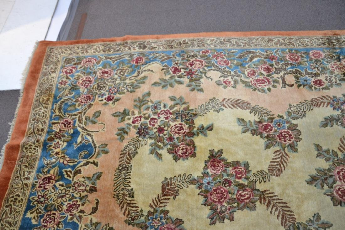 """11' 11"""" x 17' KERMAN RUG WITH FLORAL DECORATIONS - 6"""