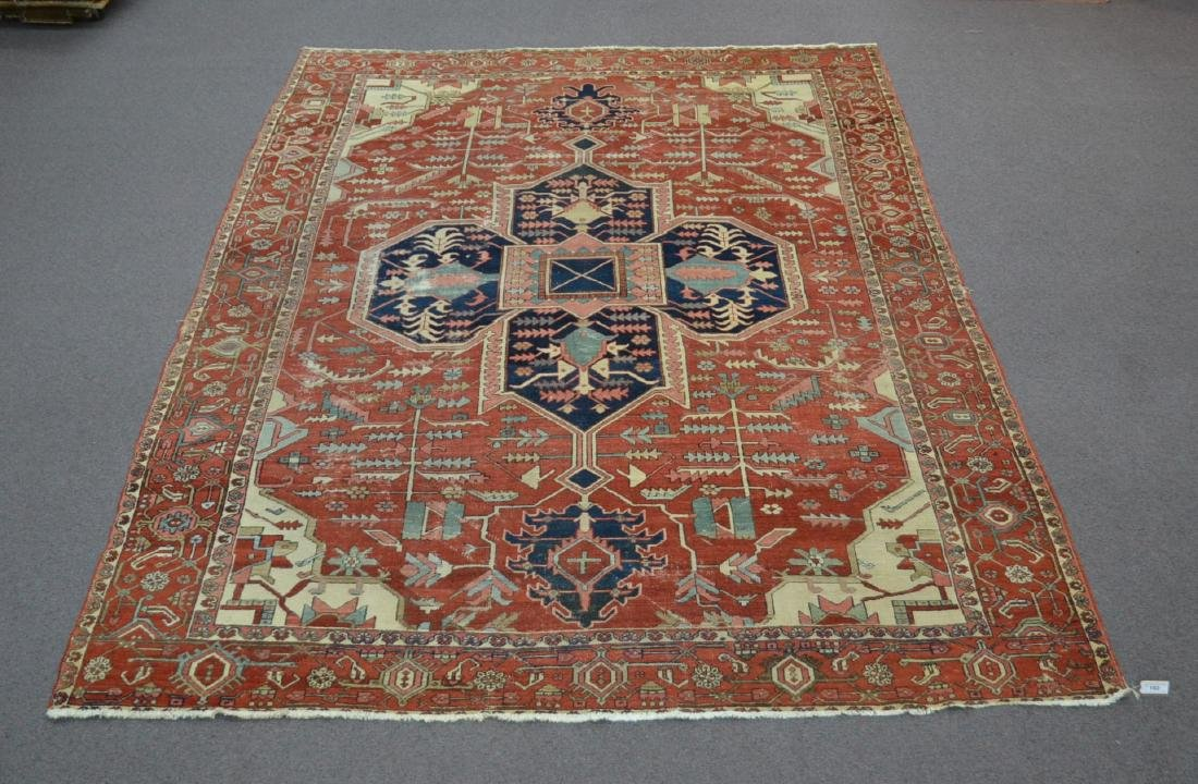 ANTIQUE 19thC HERIZ RUG - 9' x 11' 4""