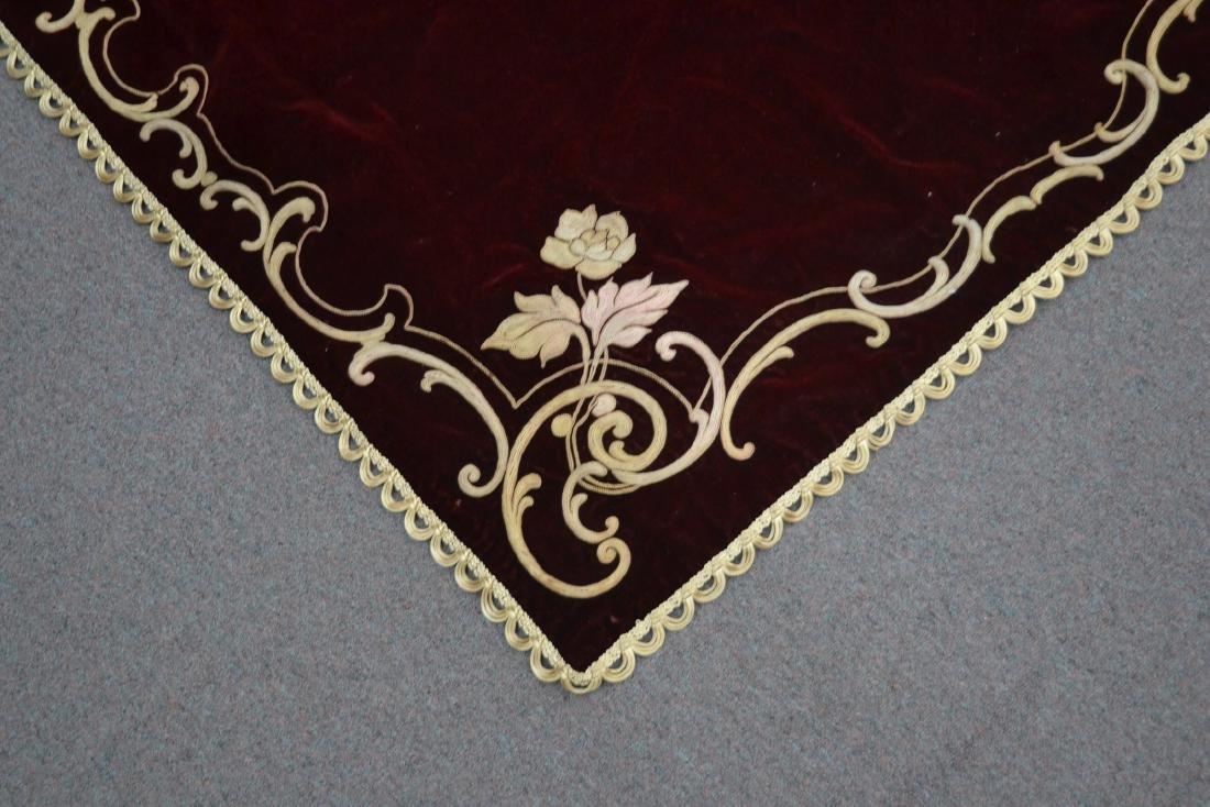 VELVET PIANO COVER WITH RAISED NEEDLEWORK ROSES - 3