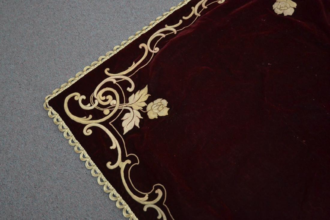 VELVET PIANO COVER WITH RAISED NEEDLEWORK ROSES - 5