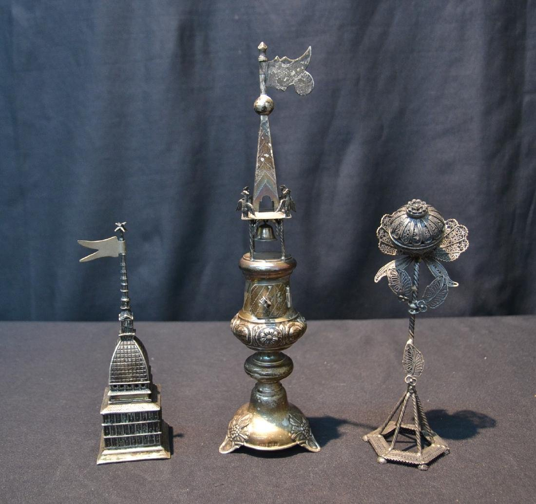 (3) ANTIQUE JUDAICA SILVER SPICE TOWERS