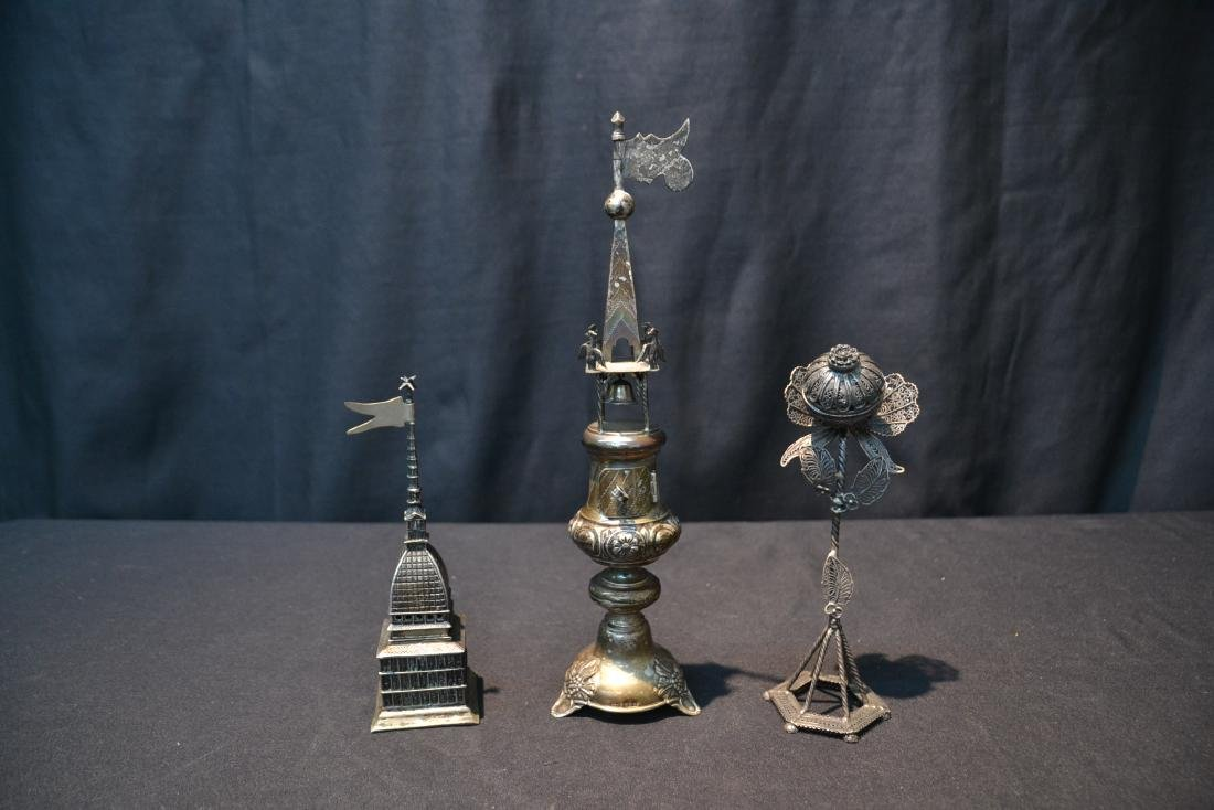 (3) ANTIQUE JUDAICA SILVER SPICE TOWERS - 2