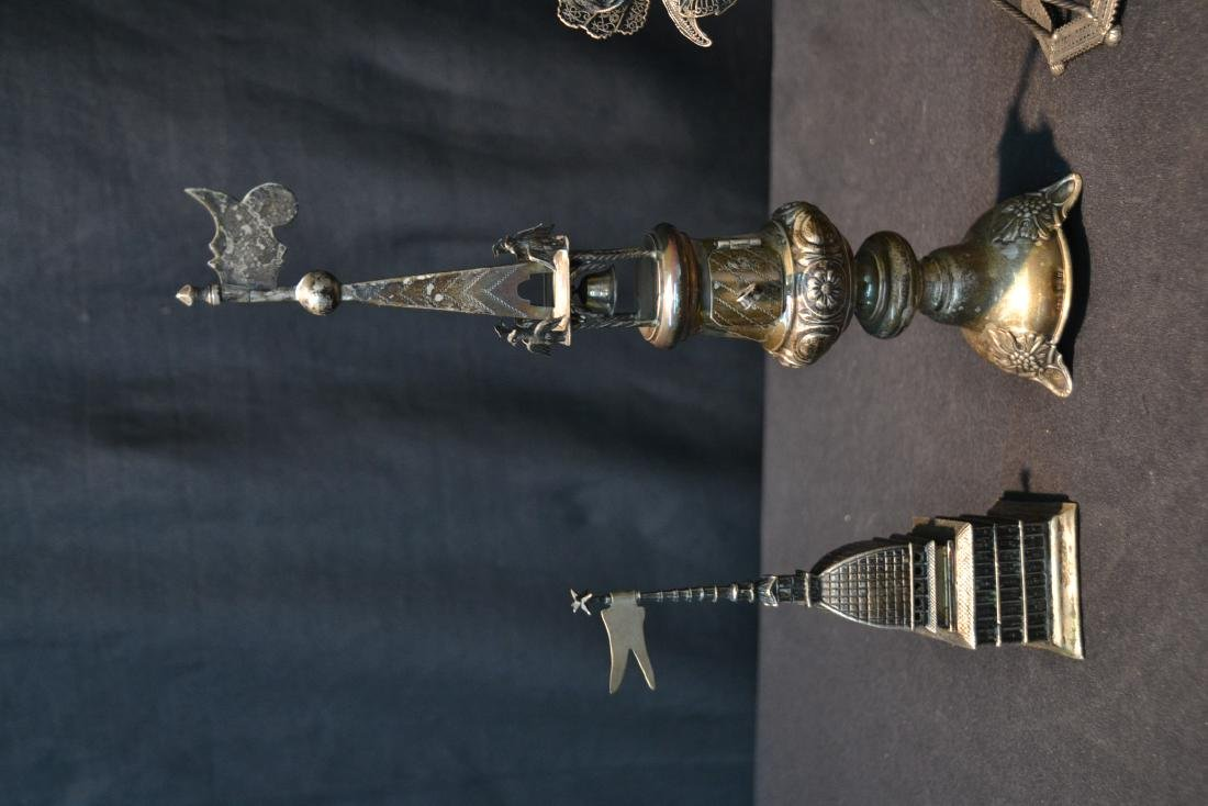 (3) ANTIQUE JUDAICA SILVER SPICE TOWERS - 4