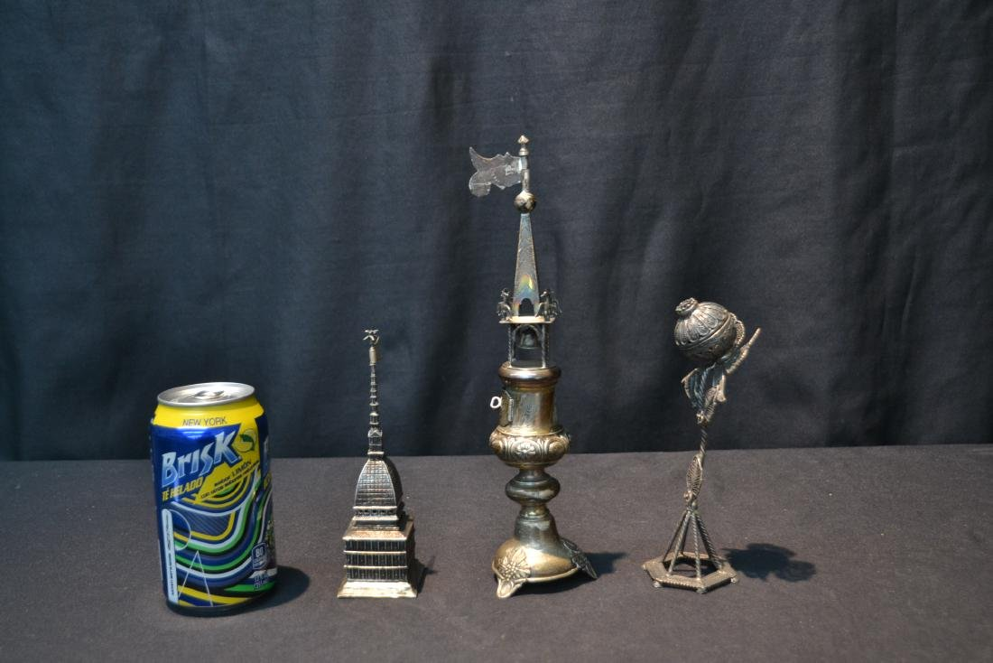 (3) ANTIQUE JUDAICA SILVER SPICE TOWERS - 5