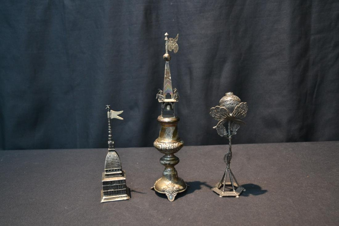 (3) ANTIQUE JUDAICA SILVER SPICE TOWERS - 6