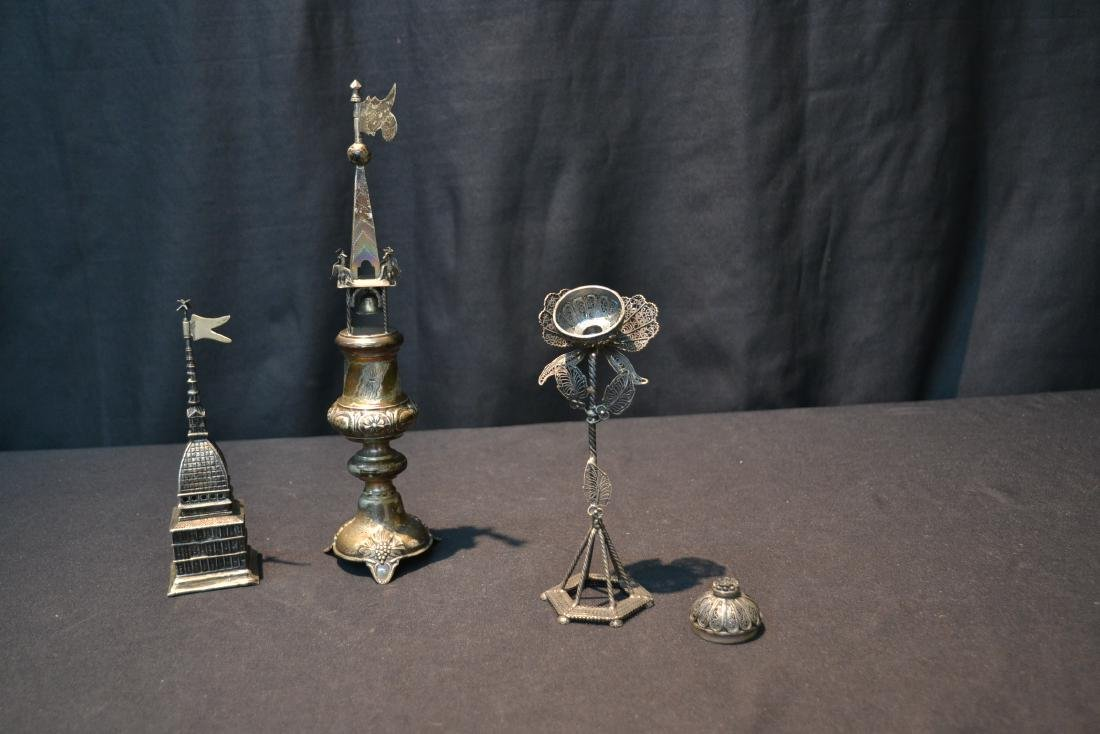 (3) ANTIQUE JUDAICA SILVER SPICE TOWERS - 7