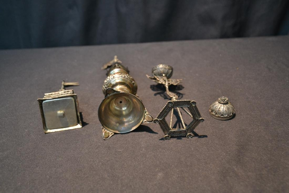 (3) ANTIQUE JUDAICA SILVER SPICE TOWERS - 8