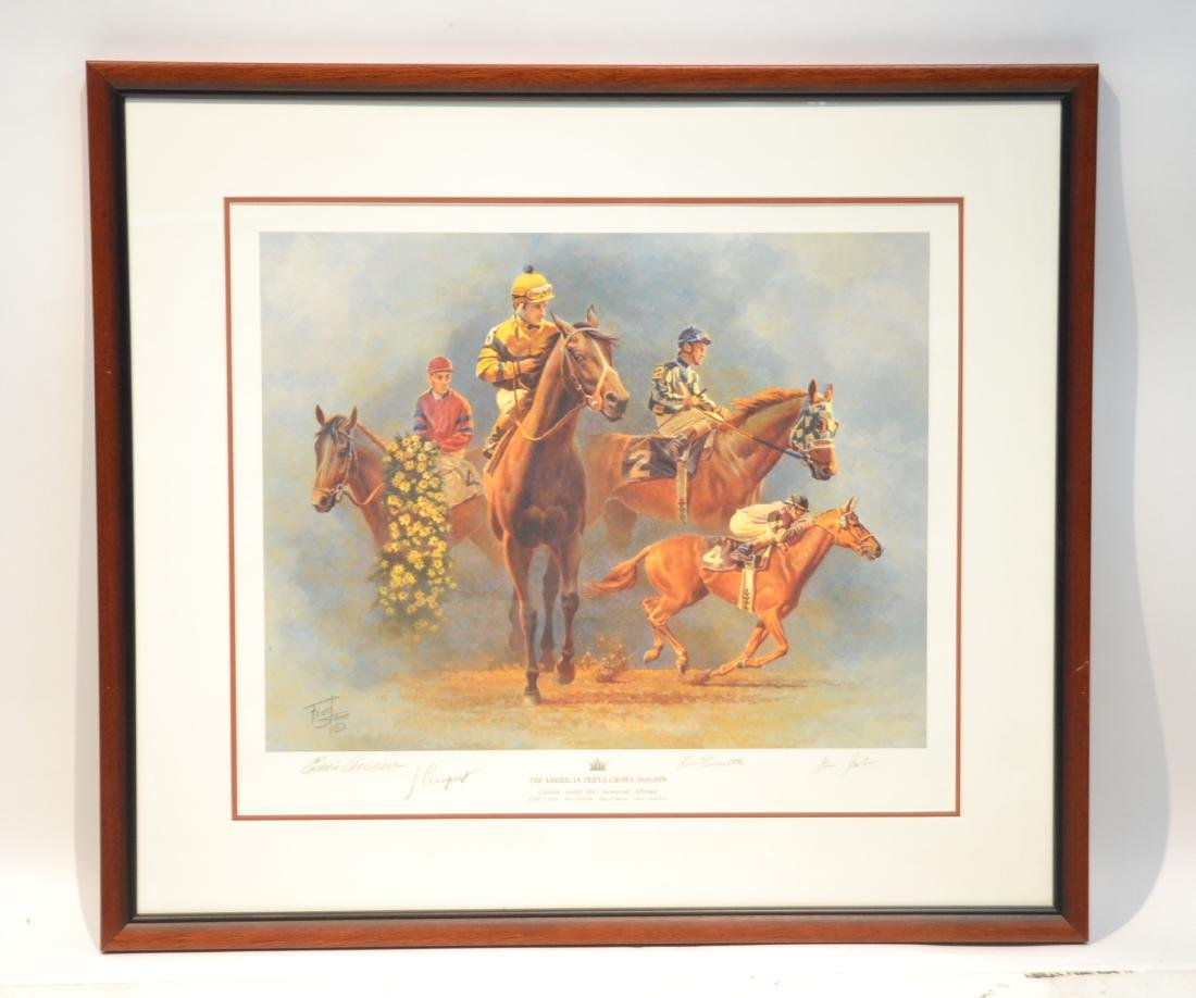 "FRED STONE ""THE AMERICAN TRIPLE CROWN"" LITHOGRAPH"