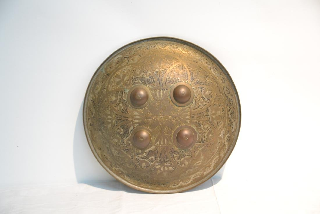MIDDLE EASTERN BRASS & STEEL SHIELD WITH - 2