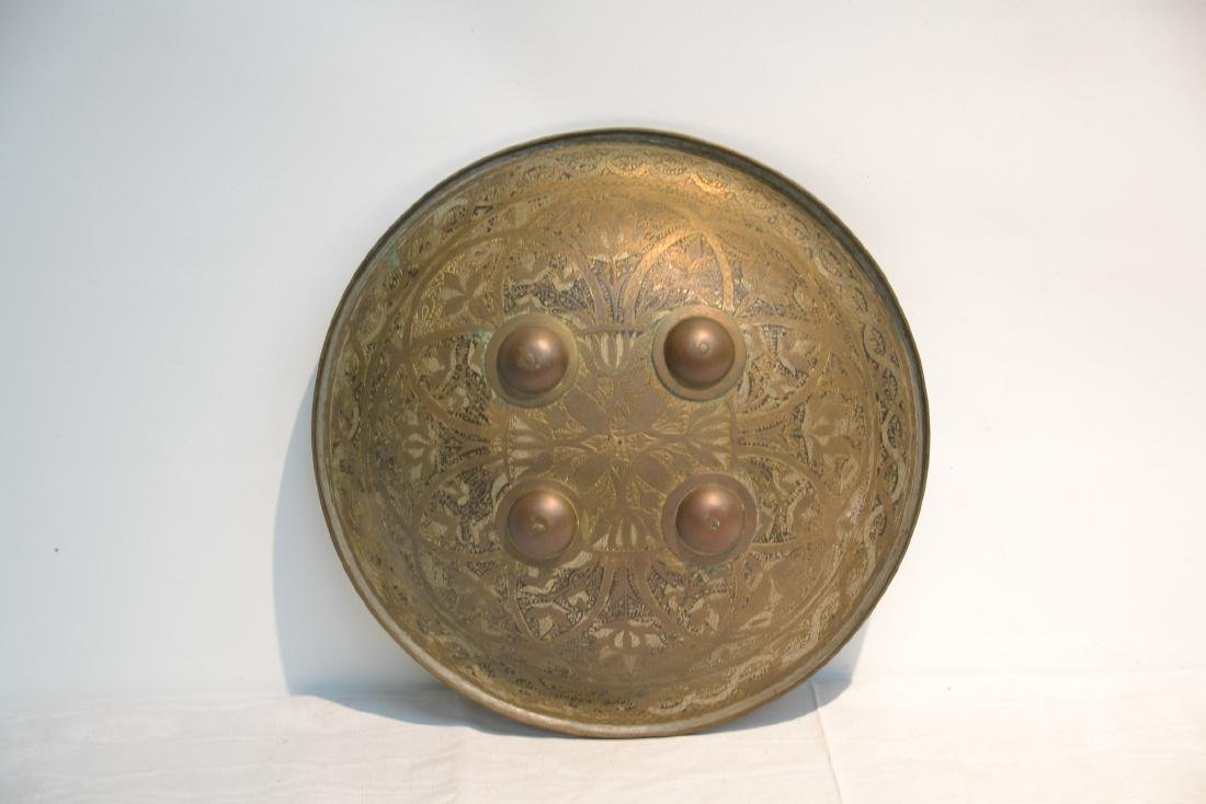 MIDDLE EASTERN BRASS & STEEL SHIELD WITH - 3