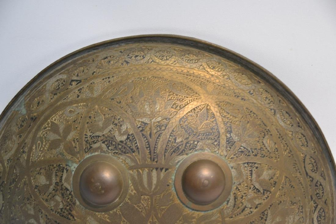 MIDDLE EASTERN BRASS & STEEL SHIELD WITH - 4
