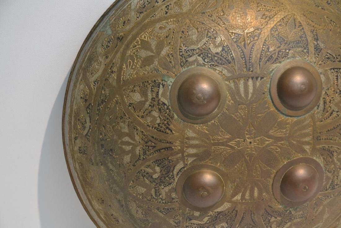 MIDDLE EASTERN BRASS & STEEL SHIELD WITH - 6