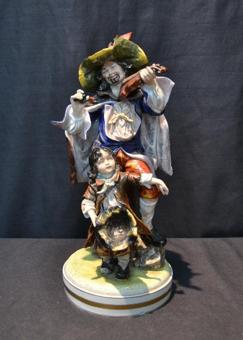 DRESDEN PORCELAIN MAN PLAYING VIOLIN WITH