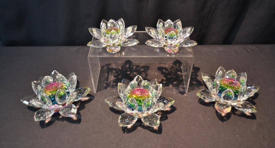 (5) SWAROVSKI STYLE CRYSTAL LOTUS FLOWERS