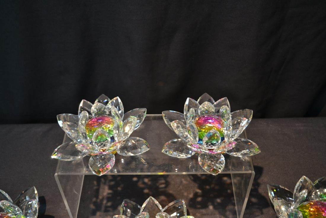 (5) SWAROVSKI STYLE CRYSTAL LOTUS FLOWERS - 5