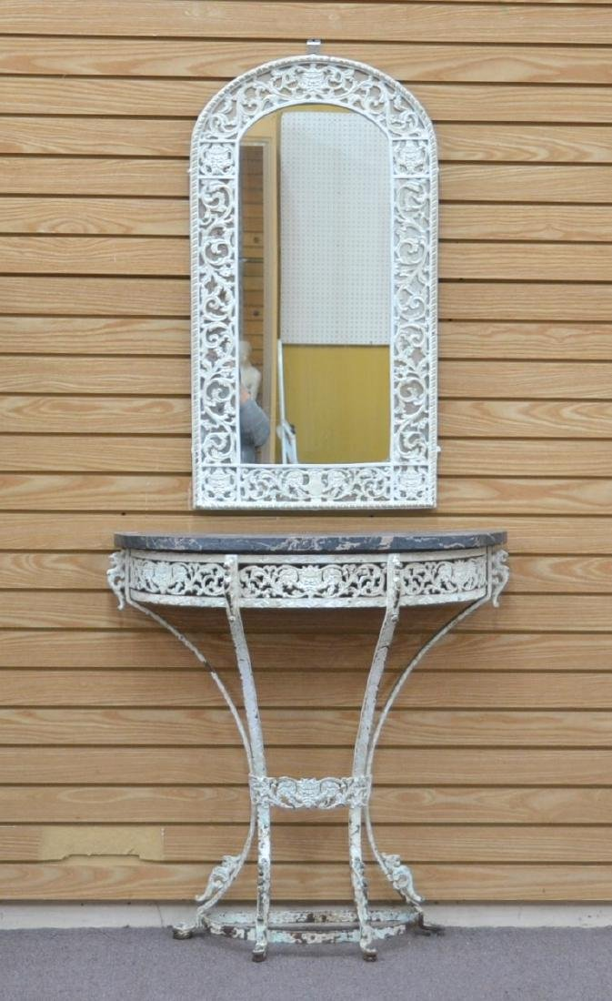 PAINT DECORATED IRON MARBLE TOP CONSOLE &