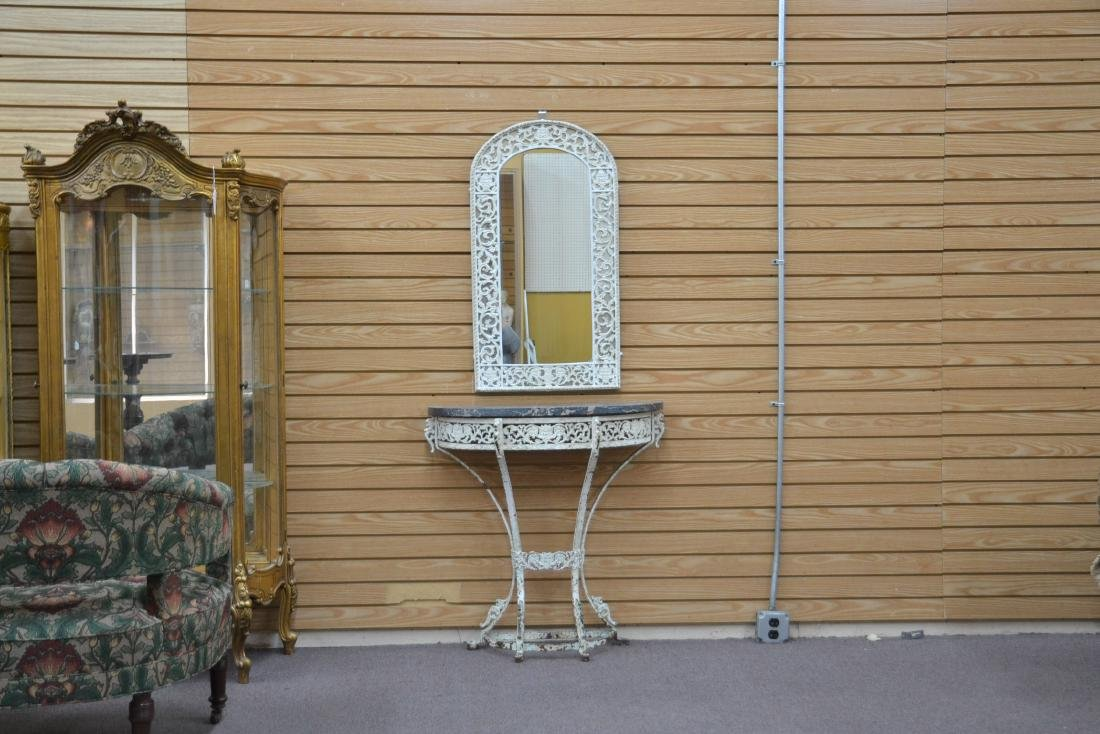 PAINT DECORATED IRON MARBLE TOP CONSOLE & - 2