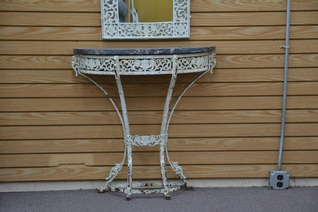 PAINT DECORATED IRON MARBLE TOP CONSOLE & - 3