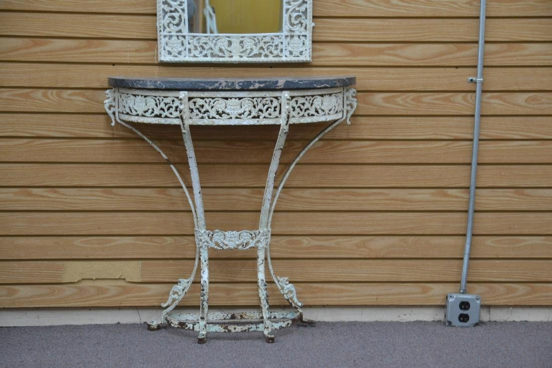 PAINT DECORATED IRON MARBLE TOP CONSOLE & - 4