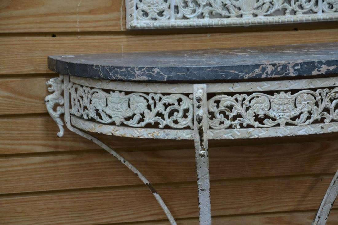PAINT DECORATED IRON MARBLE TOP CONSOLE & - 6