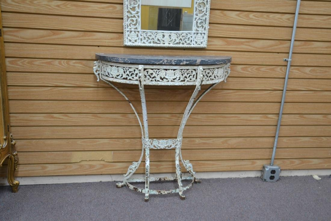 PAINT DECORATED IRON MARBLE TOP CONSOLE & - 9