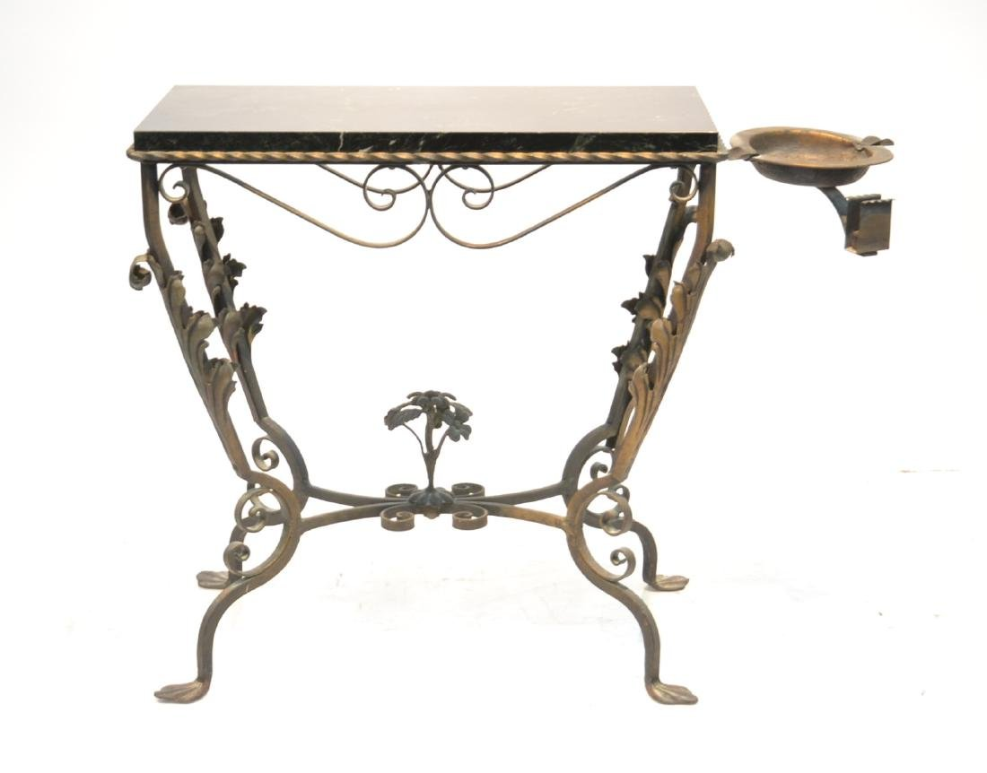 IRON MARBLE TOP TABLE WITH MOVEABLE ASHTRAY